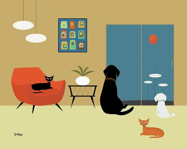 Digital Art - Mid Century Modern Animals by Donna Mibus