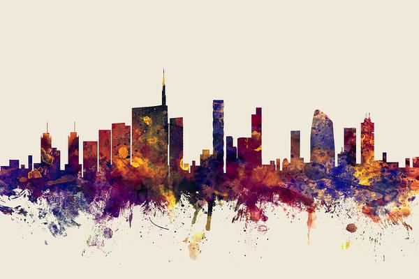 Italia Wall Art - Digital Art - Milan Italy Skyline by Michael Tompsett