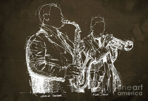 Wall Art - Painting - Miles Davis And Charlie Parker On Stage, Original Sketch by Drawspots Illustrations