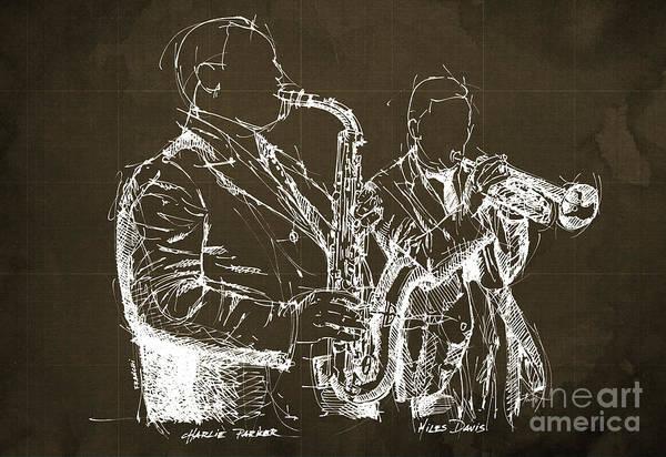 Miles Davis Painting - Miles Davis And Charlie Parker On Stage, Original Sketch by Drawspots Illustrations