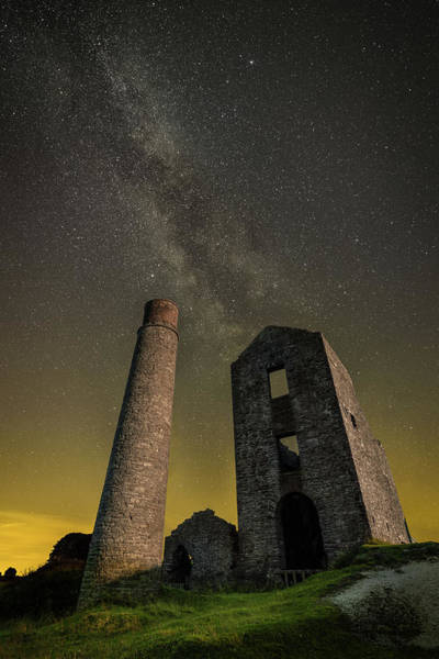Lead Mine Wall Art - Photograph - Milky Way Over Old Mine Buildings. by Andy Astbury