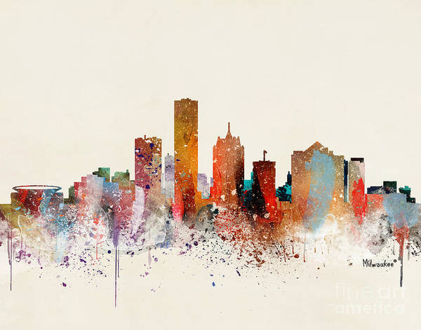 Wall Art - Painting - Milwaukee Skyline by Bri Buckley