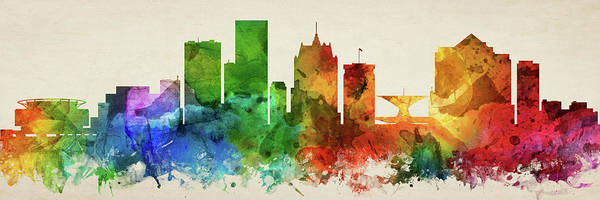 Wall Art - Digital Art - Milwaukee Skyline Panorama Uswiml-pa03 by Aged Pixel