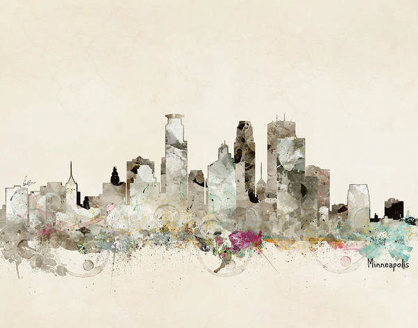 Watercolour Landscape Painting - Minneapolis Minnesota Skyline by Bri Buckley