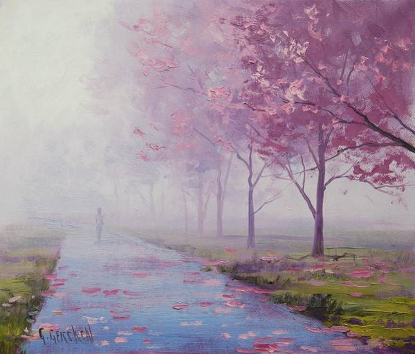 Pink Blossom Painting - Misty Pink by Graham Gercken