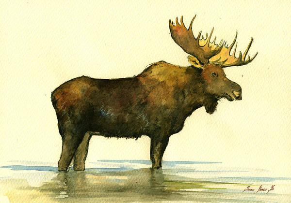 Moose Painting - Moose Watercolor Painting. by Juan  Bosco