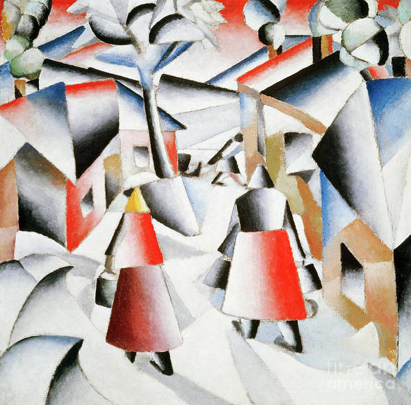 Blue Dress Painting - Morning In The Village After Snowstorm by Kazimir Malevich