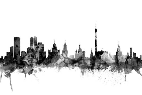 Silhouette Digital Art - Moscow Russia Skyline by Michael Tompsett