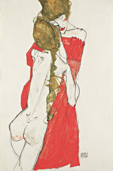 Austrian Drawing - Mother And Daughter by Egon Schiele