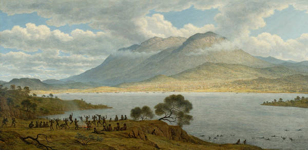 Aborigine Painting - Mount Wellington And Hobart Town From Kangaroo Point by John Glover