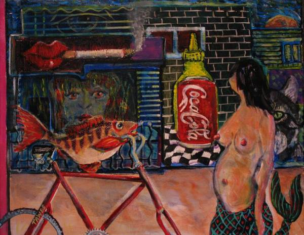 Painting - My Dinner On A Bike by Dennis Tawes