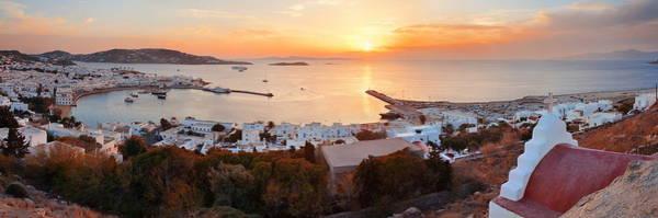 Photograph - Mykonos Bay Sunset by Songquan Deng