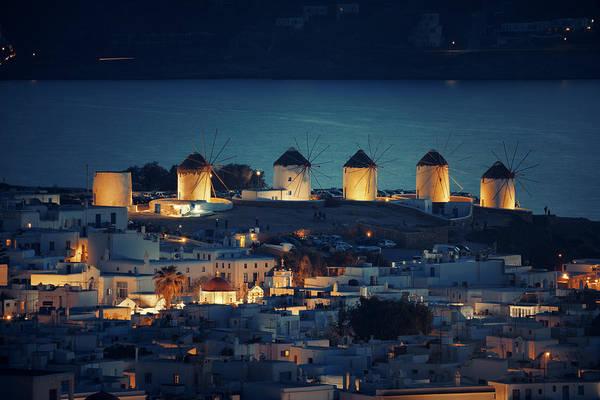 Photograph - Mykonos Windmill Night by Songquan Deng