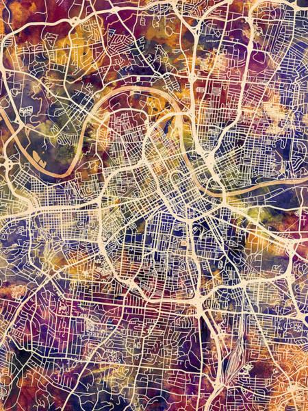 Wall Art - Digital Art - Nashville Tennessee City Map by Michael Tompsett