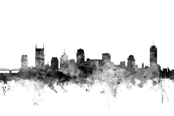 Nashville Wall Art - Digital Art - Nashville Tennessee Skyline by Michael Tompsett