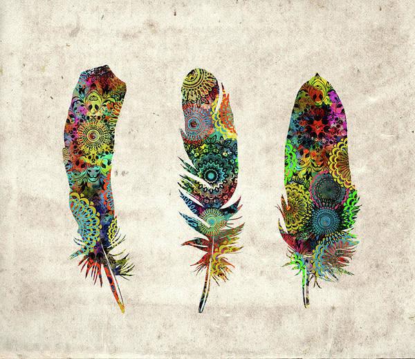 Wall Art - Digital Art - Native Mandala Feathers  by Bekim M