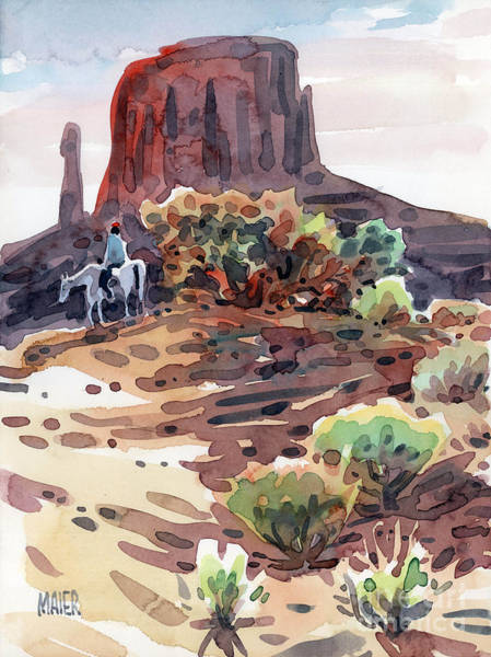Monument Valley Painting - Navajo Rider by Donald Maier