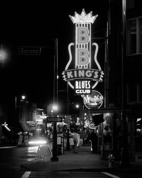 Neon Sign Lit Up At Night, B. B. Kings Art Print
