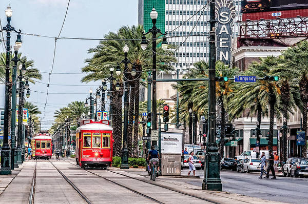 Photograph - New Orleans Canal Street Streetcars by Andy Crawford