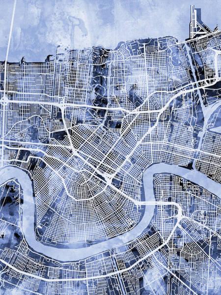 Louisiana Digital Art - New Orleans Street Map by Michael Tompsett