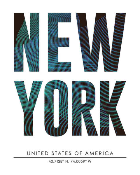 Wall Art - Mixed Media - New York, United States Of America - City Name Typography - Minimalist City Posters by Studio Grafiikka