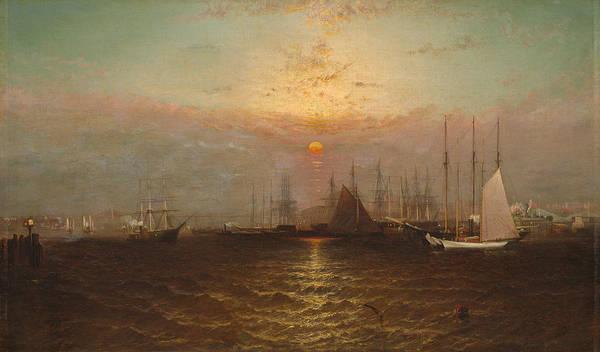 Narrow Street Painting - New York Harbor With Brooklyn Bridge by G Baker