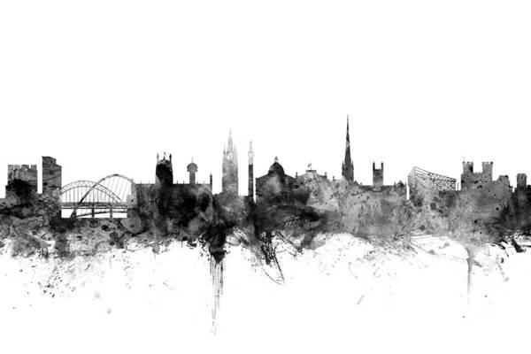 Newcastle Digital Art - Newcastle England Skyline by Michael Tompsett