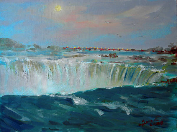 Full Moon Painting - Niagara Falls by Ylli Haruni