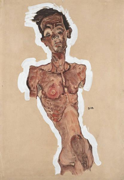 Selfportrait Painting - Nude Self-portrait by Egon Schiele