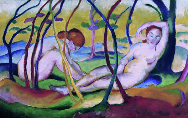 Painting - Nudes Under Trees by Franz Marc