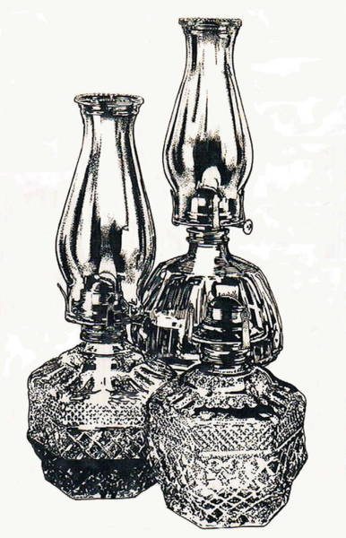Drawing - Oil Lamps by Barbara Keith