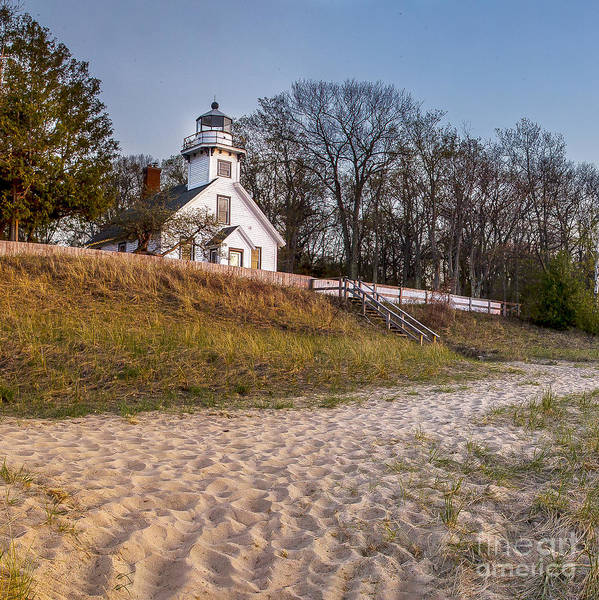 Mission Bay Photograph - Old Mission Peninsula Lighthouse And Shore by Twenty Two North Photography