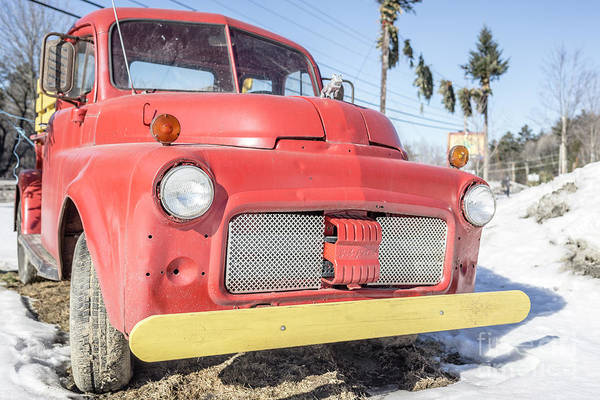 Wall Art - Photograph - Old Red Farm Truck by Edward Fielding