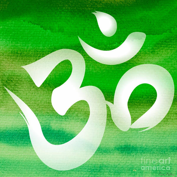 Digital Art - Om Symbol. Green by Lita Kelley