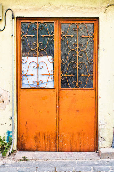 Barrier Photograph - Orange Door by Tom Gowanlock