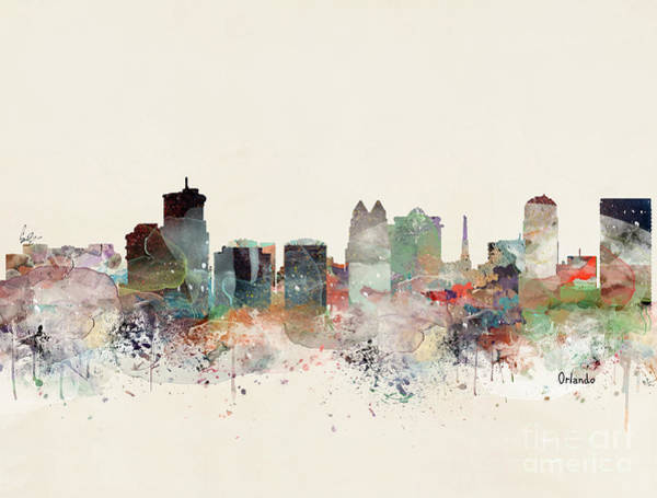 Watercolour Landscape Painting - Orlando Florida Skyline by Bri Buckley