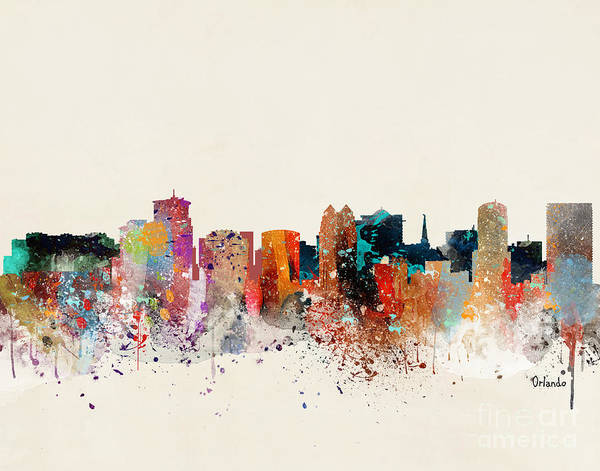 Wall Art - Painting - Orlando Skyline by Bri Buckley