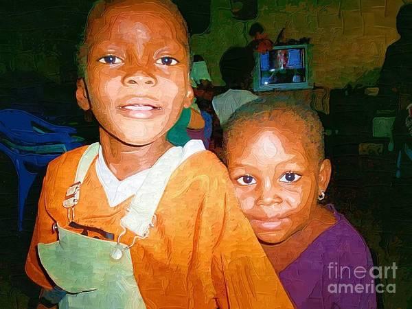 Ghana Painting - 2 Orphans Of Ghana by Deborah Selib-Haig DMacq