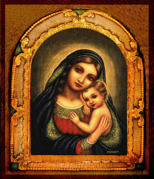 Wall Art - Mixed Media - Oval Madonna by Ananda Vdovic