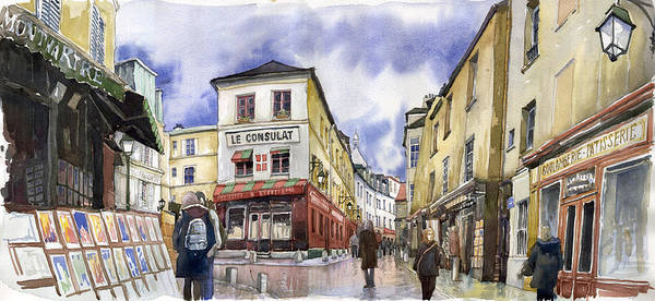 Watercolours Wall Art - Painting - Paris Montmartre  by Yuriy Shevchuk