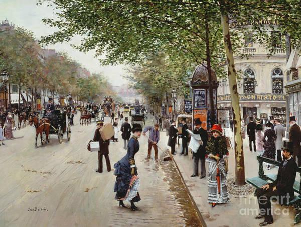 City Scene Painting - Parisian Street Scene by Jean Beraud