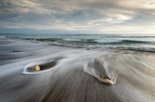 Outdoor Wall Art - Photograph - Pebbles In The Beach And Flowing Sea Water by Michalakis Ppalis