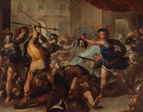 Groups Of People Painting - Perseus Turning Phineas And His Followers To Stone by Luca Giordano