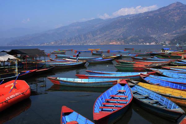 Photograph - Colourful Boats On Phewa Lake, Pokhara, Nepal by Aidan Moran