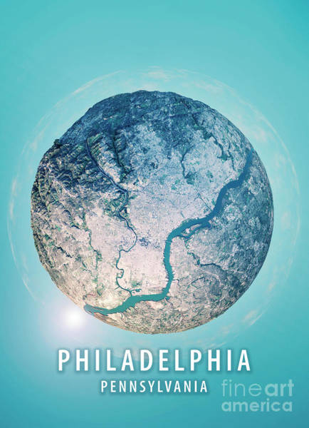 Wall Art - Digital Art - Philadelphia 3d Little Planet 360-degree Sphere Panorama by Frank Ramspott