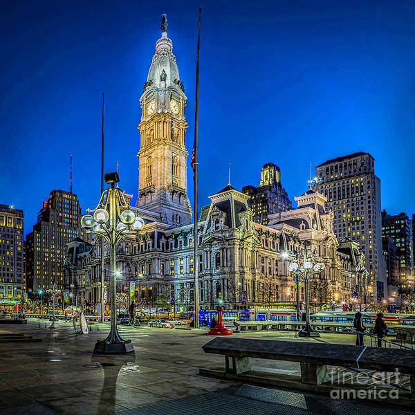 Photograph - Philly City Hall At Night by Nick Zelinsky