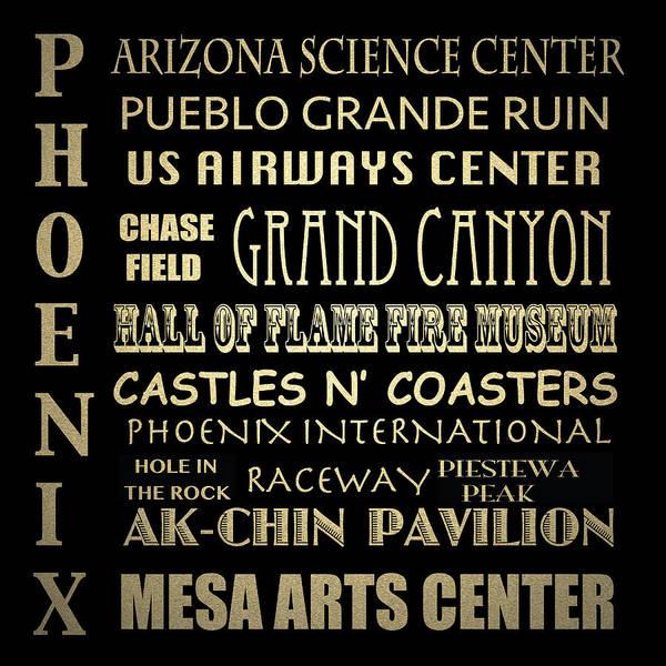 Arizona Digital Art - Phoenix Famous Landmarks by Patricia Lintner