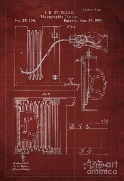 Invention Painting - Photographic Camera Patent Year 1880 by Drawspots Illustrations