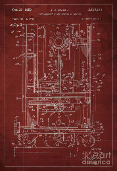Invention Painting - Photographic Plate Moving Apparatus Patent Year 1950 by Drawspots Illustrations