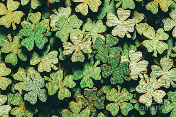 Four Leaf Clover Photograph - Pile Of Wooden Green Four-leaf Clovers by Michal Bednarek